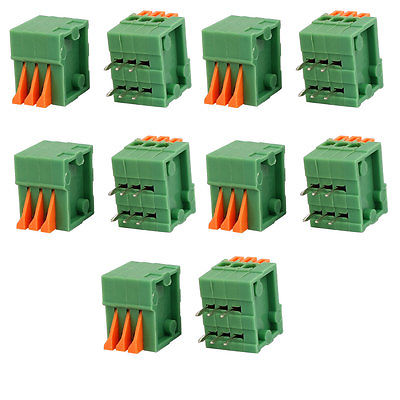 10pcs KF141R 150V 2A 2.54mm Pitch 3P Spring Terminal Block for PCB Mounting