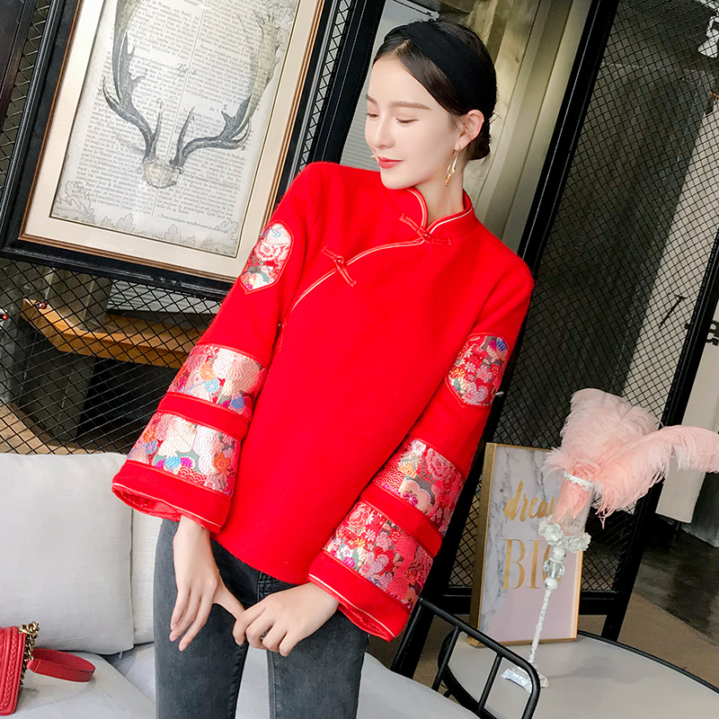 RED Chinese New Year Women Cotton Padded Jacket Traditional Tang Clothes Winter Warm Overcoat Handmade Button Hanfu Costume