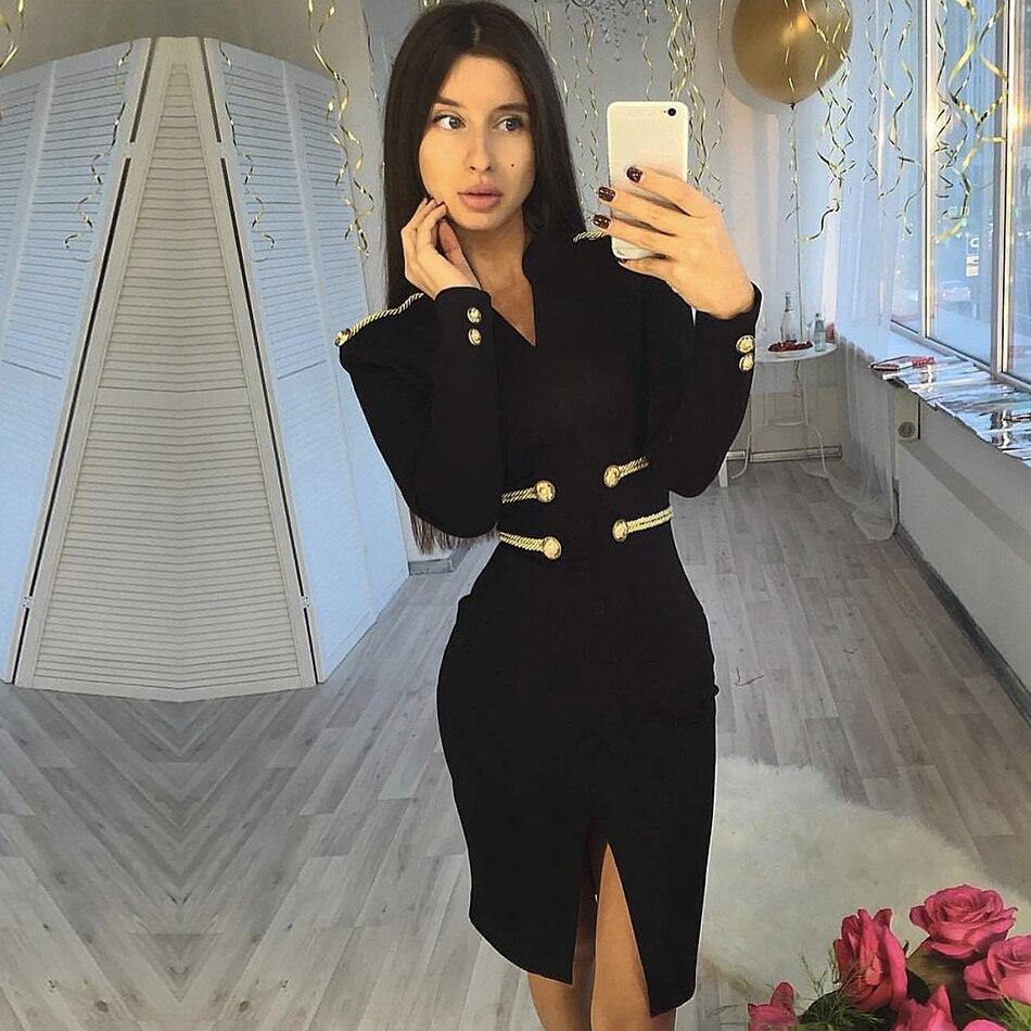 Adyce 2019 New Winter Elegant Celebrity Evening Party Bandage Dress Women Vestido Sexy Long Sleeve Black