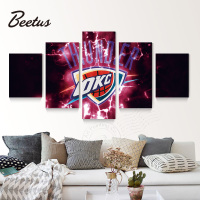 5 Panel Wall Art Sport Poster Oklahoma City Thunder Basketball Game Home Decoraction Wall Picture Prints