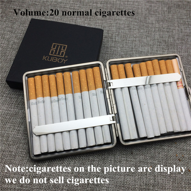 Kuboy KC1-18 Black Brone 110g Vintage Style Leather Male 20 Cigarettes Case Box Smoking Accessaries Smoke Box Case