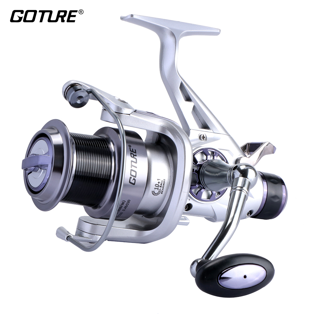 Goture Shark-Carp Fishing Reels Metal Spool 5000/6000 10+1BB 5.2:1 Max Drag 8kg Double Brake Carp Fishing Feeder Spinning Wheel tsurinoya tsp3000 spinning fishing reel 11 1bb 5 2 1 full metal max drag 8kg jig ocean boat lure reels carretes pesca molinete