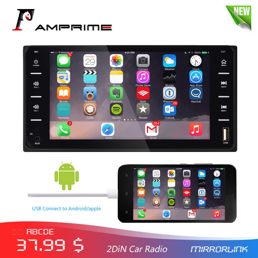 "AMPrime 7 ""Auto Radio Audio Radio 2din Touch Screen Auto Multimedia Bluetooth MirrorLink Android/IOS FM/AUX achteruitrijcamera MP5 Speler"
