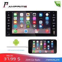 """AMPrime 7 """"Radio samochodowe Radio samochodowe 2din ekran dotykowy samochodowe Multimedia Bluetooth MirrorLink Android/IOS FM/AUX kamera tylna odtwarzacz MP5"""