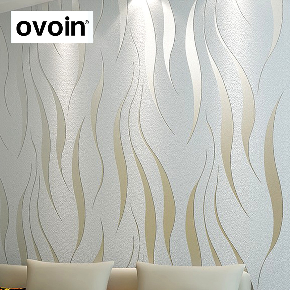 High Quality Modern Simple Non Woven Wallpaper 3D Three Dimensional Flocking Embossed Wall Paper Living Room