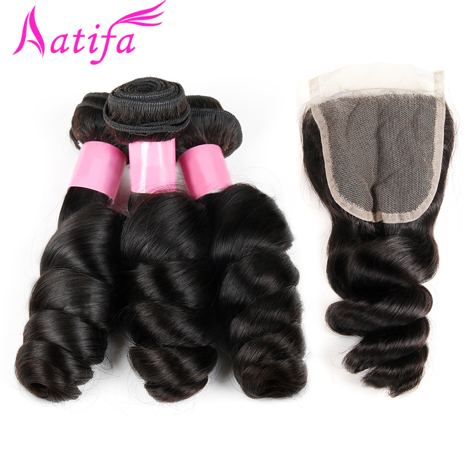 Brazilian Loose Wave Hair With Closure 100 Human Hair Bundles With Closure Aatifa Remy Hair 3