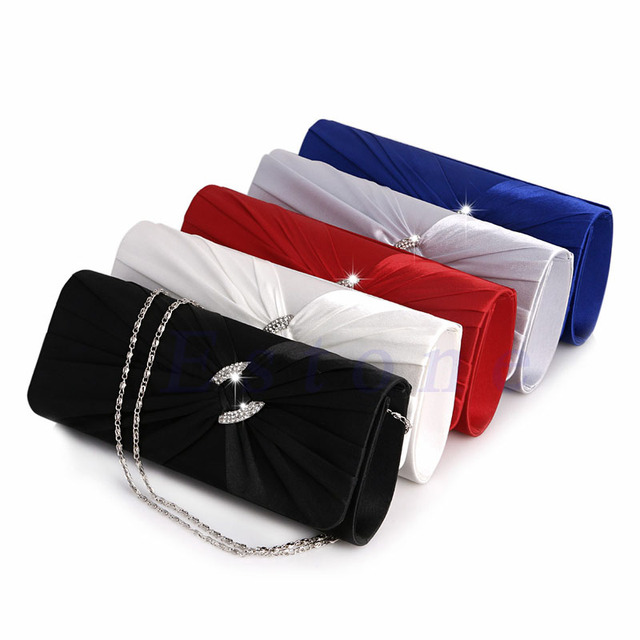 New Fashion Women's Bridal Shoulder Clutch Bag Bling Rhinestone Chain Evening Handbag Purse