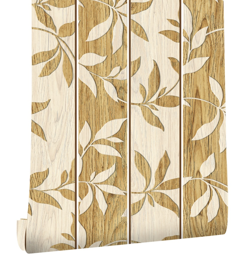 HaokHome 3d Faux Wood Panel Wallpaper self adhesive Leaf Sticker Rolls Vintage Brown Bedroom Living room Wall Decoration haokhome 3d rustic wood grain vinyl self adhesive wallpaper rolls tan brown black living room study room wall papers home decor