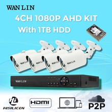 WANLIN 4CH AHD DVR Package with 4PCS Outside SONY IMX323 Full HD 1080P Safety Digital camera System CCTV Video Surveillance 1TB HDD