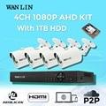 Wanlin 4ch ahd dvr kit com 4 pcs ao ar livre sony imx323 Full HD 1080 P Câmera de Segurança Sistema de Vídeo Vigilância CCTV 1 TB HDD