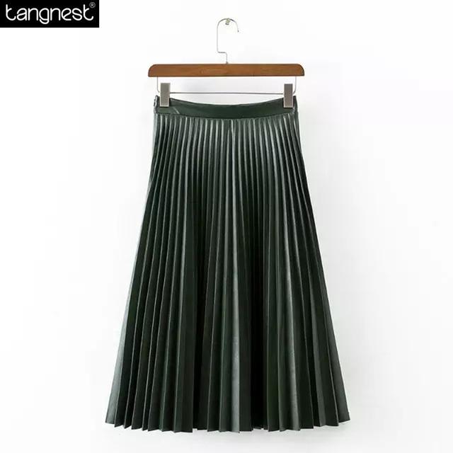 Tangnest marca diseño falda larga 2017 de la moda de cuero de la pu faldas ropa casual todo-fósforo de tul jupe maxi estilo vintage falda wqc471