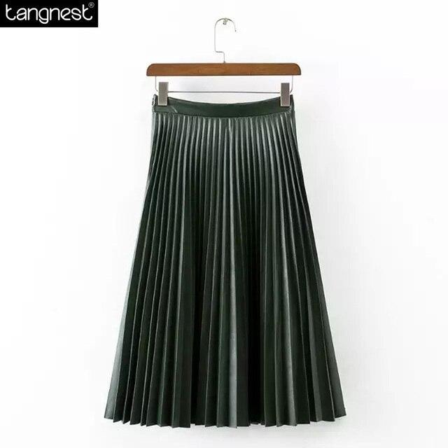 Tangnest marca projeto saia longa 2017 moda saias de couro pu casual desgaste todo o jogo saia de tule jupe maxi estilo vintage wqc471