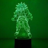 Dragon Ball Broly Visual Illusion LED 3D Nightlight 7 Color Changing USB Dragon Ball Super Saiyan