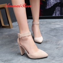 AnmaiRon 2019 New Arrival Women Super High Fashion Sexy Pumps  Square Heel Party Pointed Toe Shoes Woman Size 34-43 LY4001