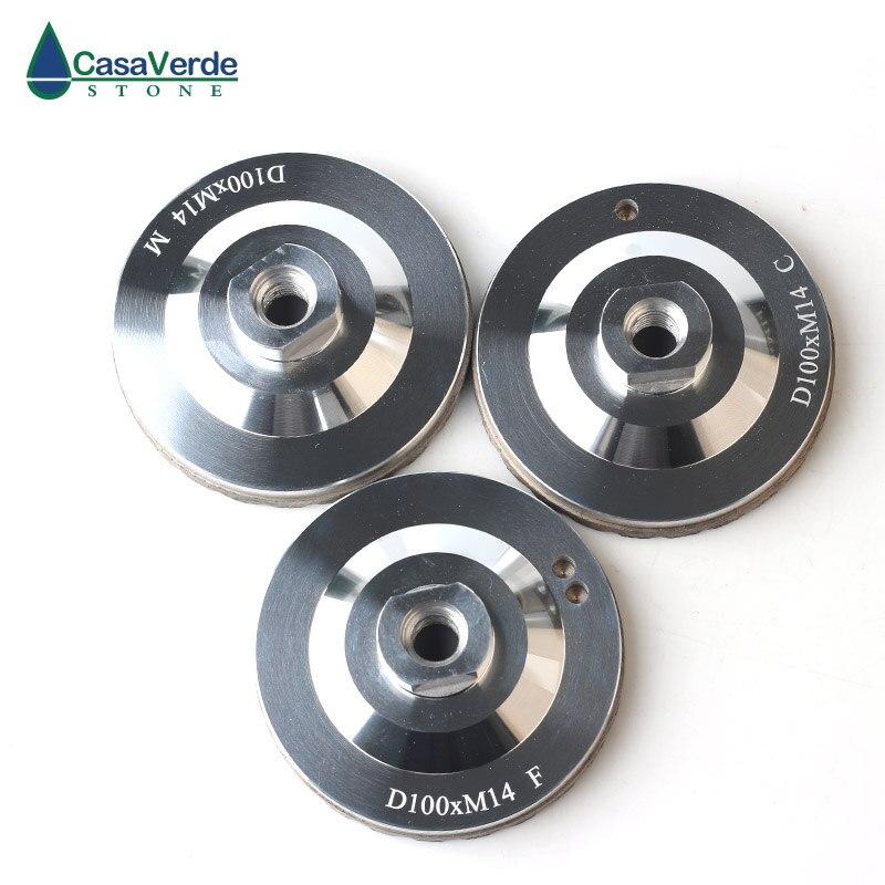 Livraison gratuite 3 pièces/ensemble diamant turbo résine remplissage aluminium corps coupe roues 4 pouces pour la pierre de meulage - 2