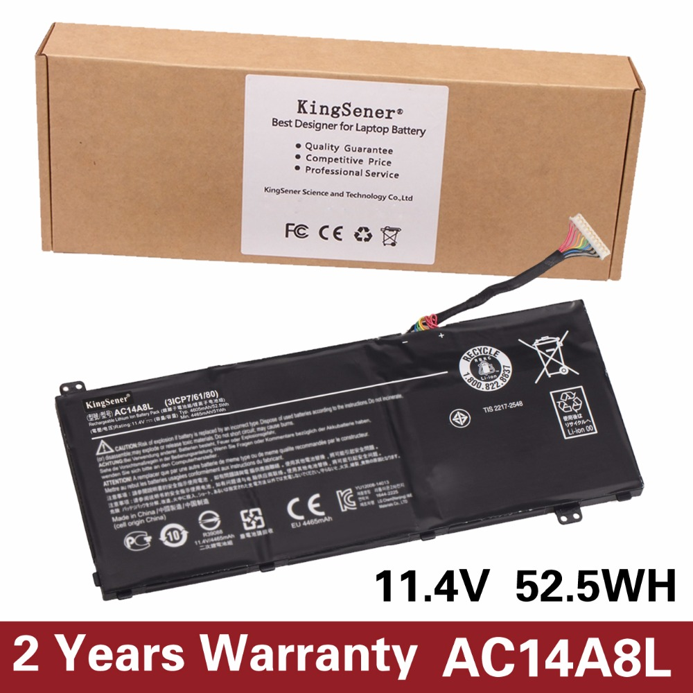 KingSener New AC14A8L Laptop Battery For Acer Aspire VN7-571 VN7-571G VN7-591 VN7-591G VN7-791G KT.0030G.001 11.4V 4605mAh slim 19v 7 1a 135w laptop ac power adapter charger for acer aspire v15 nitro vn7 592 vn7 592g v5 591 v5 591g vx5 591g pa 1131 16