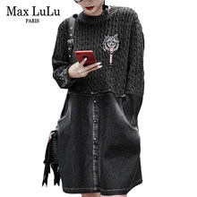 Max LuLu Luxury Korean Vintage Winter Girls Knitted Streetwear Womens Patchwork Denim Dresses Mini Vestidos Ladies Sexy Clothes(China)