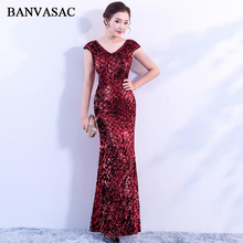 BANVASAC 2018 Sequined V Neck Short Cap Sleeve Mermaid Long Evening Dresses Illusion Lace Zipper Back Party Prom Gowns angry birds сердитая птичка в ассортименте