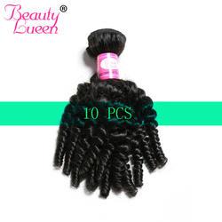Бразильские афро кудрявые вьющиеся волосы пучки для оптовой продажи 10 шт. Лот бразильские волосы плетение пучков натуральный цвет не Реми