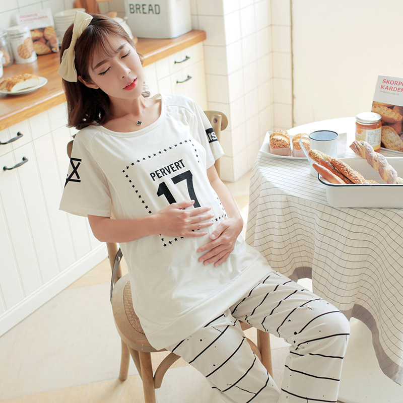 Maternity Clothing Thin Expectant Mother Feeding Cloth Sets T-shirt+Trousers Adjustable Number 17 Pregnant Women Nursing Pajamas