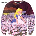 Fashion Casual Princess Plant Flower Painted Sweatshirt Conjunto De Saia Harajuku Tracksuit Digital Printing Pullover