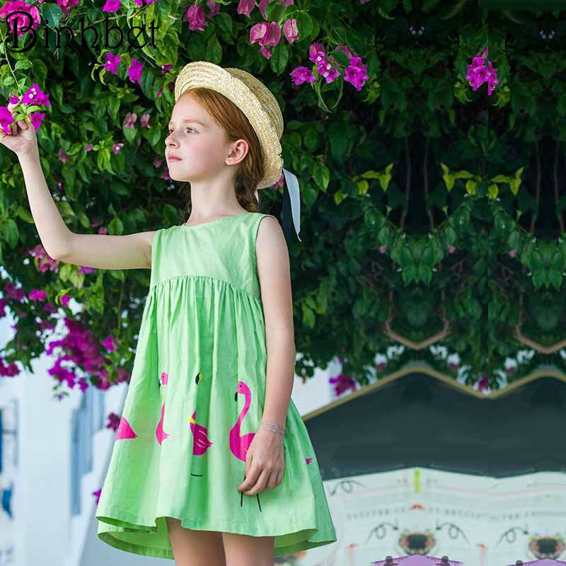 Binhbet Baby Girls Dress 2018 Brand Summer Casual Style Green Print Princess Dresses for Party Toddler Girls Clothes 2-7Y