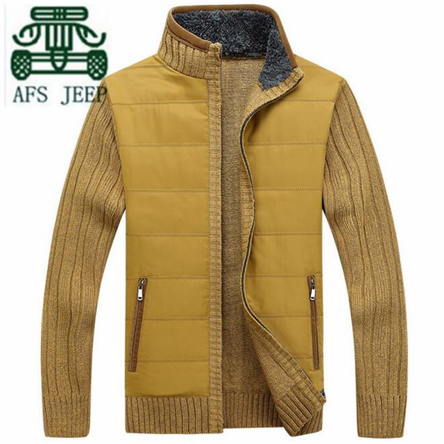 AFS JEEP Fashion Design Patchwork Sleeve Man's 2016 Winter/ Autumn Thickness Knitted Cardigan Sweater,Zipper Fly Man's Keep Warm