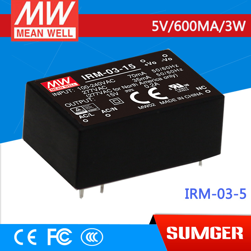 [Sumger2] MEAN WELL original IRM-03-5 5V 600mA meanwell IRM-03 5V 3W PCB mounting style genuine mean well irm 60 12st 12v 5a meanwell irm 60 12v 60w screw terminal style