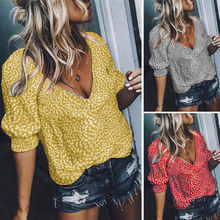 2019 Sexy Women Summer Blouse V Neck Leopard Print Long Sleeve Loose Shirt OL Tops Blouse Ladies Blusas Plus Size цена