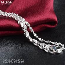 2018 New 2mm Silver fashion jweelry Water Wave Chain Necklace jewelry accessories 16 18 20 22 24 inch Wholesale 925 stamp(China)