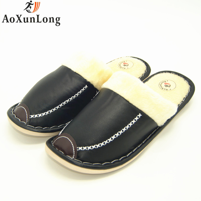 Winter Slippers Men Leather Warm Plush Slippers Home Slide Indoor Men Shoes Man Slippers Size 42-45 Mens Shoes zapatos hombre 11 fghgf shoes men s slippers mak