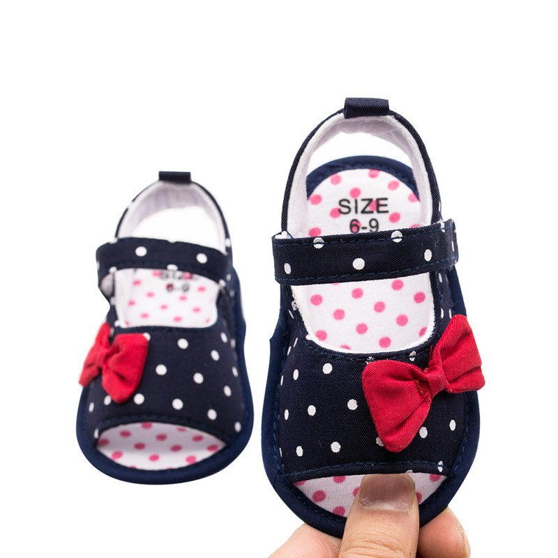 Baby Sandals Cotton Baby Girl Shoes Newborn Polka Dot Bow Cute Baby Girl Sandals Summer Princess Shoes 0-12M Beach Sandals