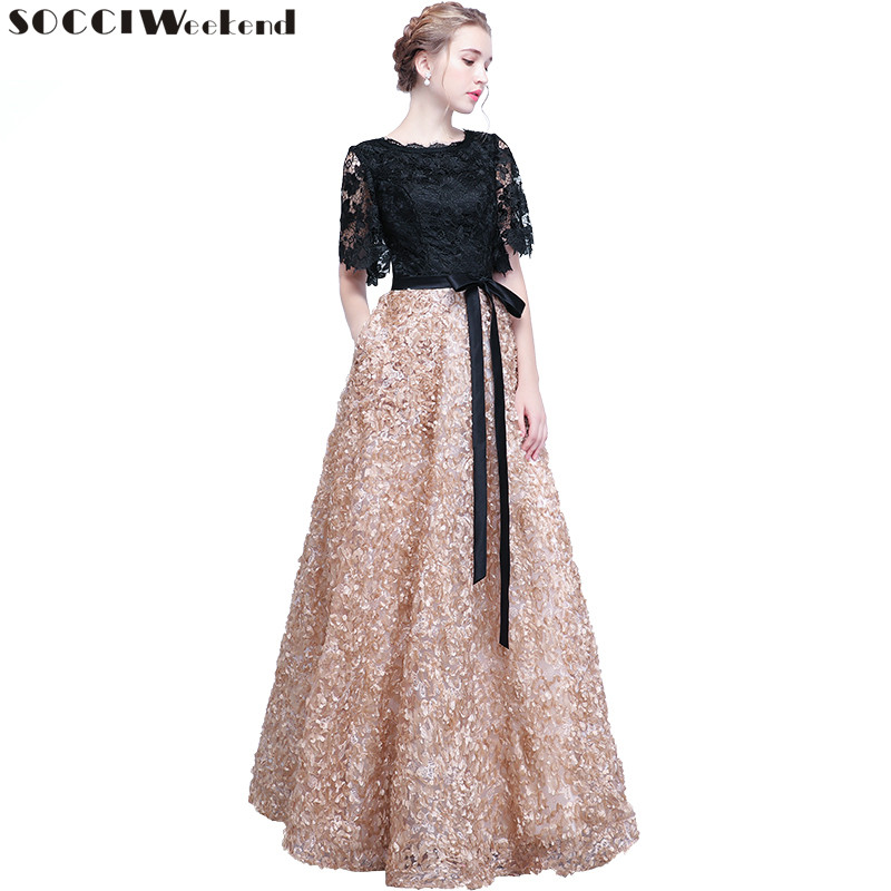 SOCCI Weekend Elegant Mother of the Bride Dresses 2018 Black Lace Flowers Women Formal Party Dress Evening Gown Robe de soiree(China)