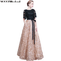 SOCCI Weekend Elegant Mother of the Bride Dresses 2018 Black Lace Flowers Women Formal Party Dress Evening Gown Robe de soiree