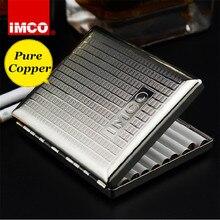 Genuíno imco original cigarro caixa de charuto titular tabaco de cobre puro bolso recipiente armazenamento fumar cigarro acessórios