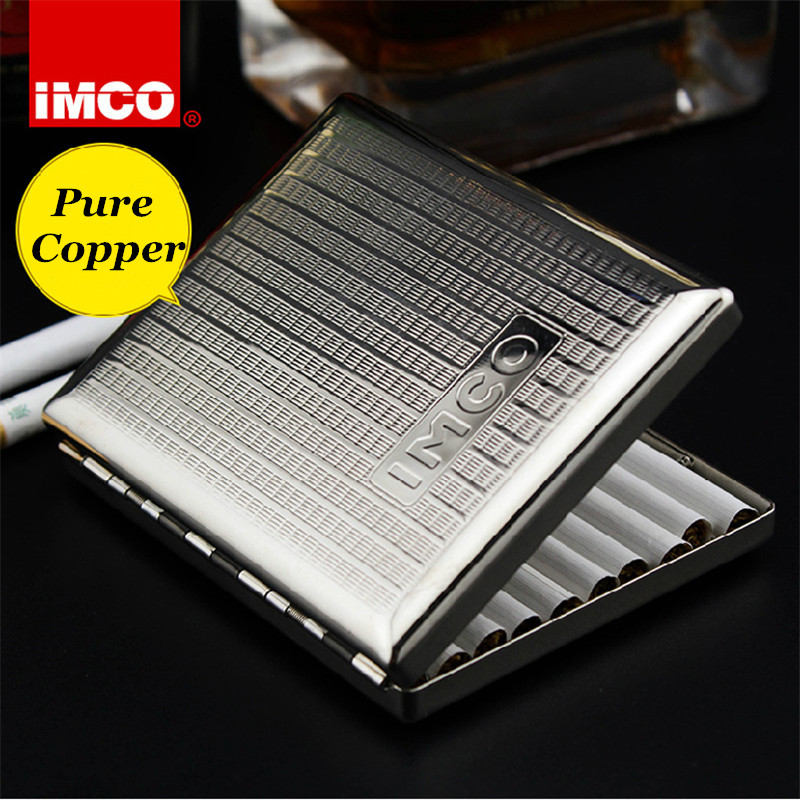 Genuine IMCO Original Cigarette Case Cigar Box Pure Copper Tobacco Holder Pocket Storage Container Smoking Cigarette Accessories