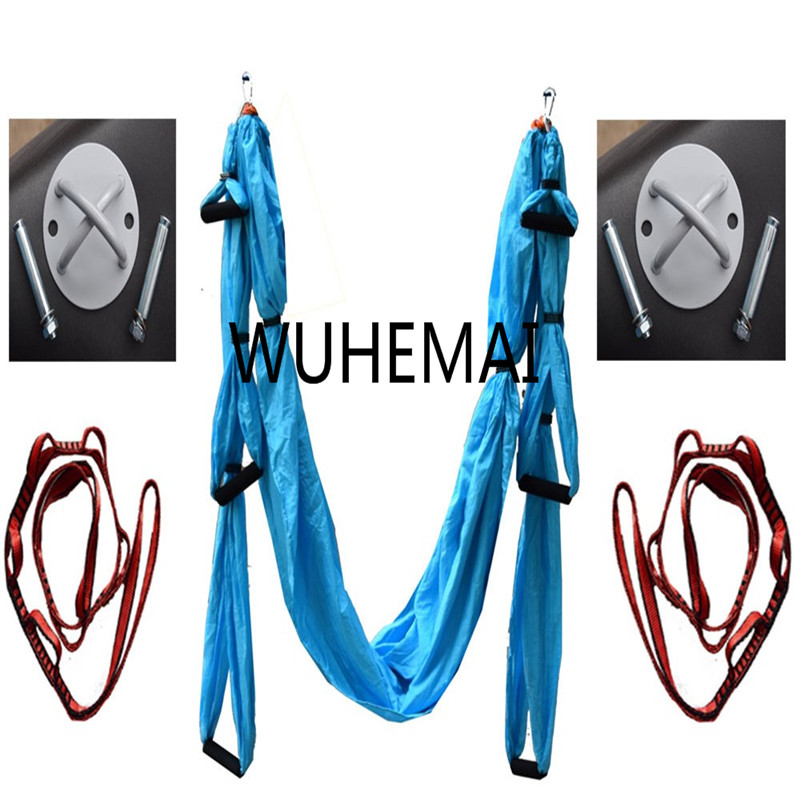 WUHEMAI A set of Yoga Hammock Swing Anti-gravity Fabric Inversion Therapy High Strength Decompression Hammock Yoga Gym Hanging fitness yoga hammock yoga swing anti gravity aerial straps high strength fabric decompression hammock mix color with 6 grip hand