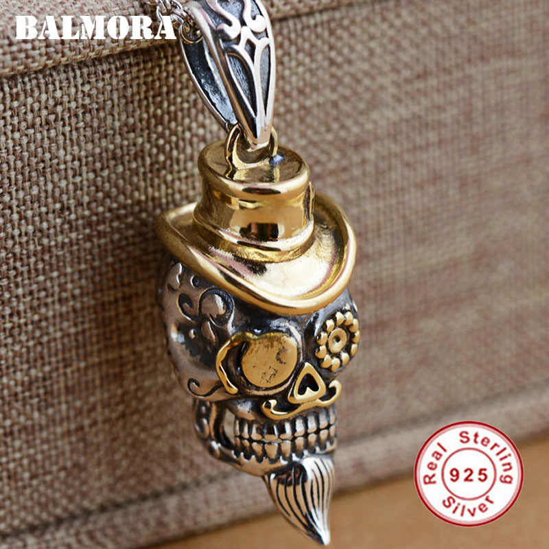 BALMORA Real 925 Sterling Silver Punk Skull Charm จี้สำหรับสร้อยคอผู้หญิง Vintage Cool แฟชั่นเครื่องประดับไม่มีห่วงโซ่