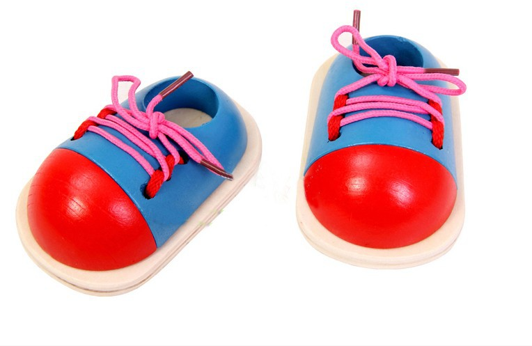 ФОТО Creative Kids Motessori Eduaction Toys Children Wooden Toys Toddler Lacing Shoes Early Education Kids Toys