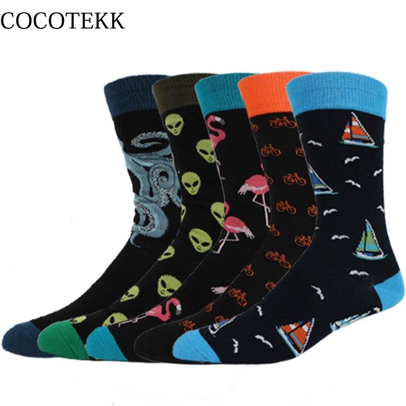 COCOTEKK 5pair/Lot Casual Fashion High Quality Combed Cotton Long Socks Men Set Business Wedding Men Socks For Gift Dropshipping