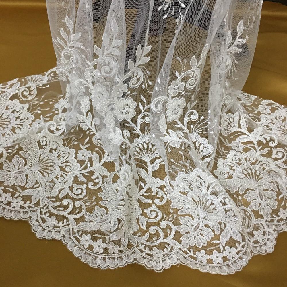 Luxueux tissu de dentelle perlé cher avec de très belles garnitures 2016 mode ivoire brodé tulle mariage dentelle tissu!