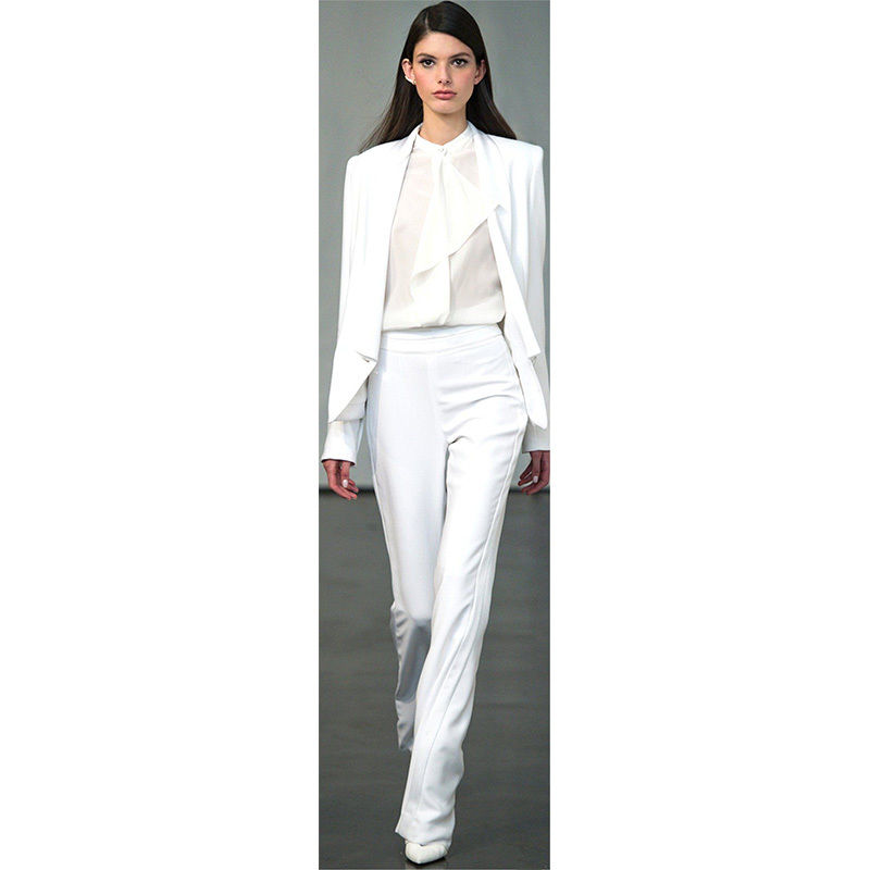 New White Womens Business Evening Pants Suits Slim Fit Female Trouser Suits Blazer Custom Made B249 ...