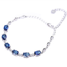 gemstone jewelry factory wholesale white 925 sterling silver natural blue topaz adjustable beaded bracelet for female gift gemstone jewelry factory wholesale white 925 sterling silver natural green tourmaline adjustable beaded bracelet for women