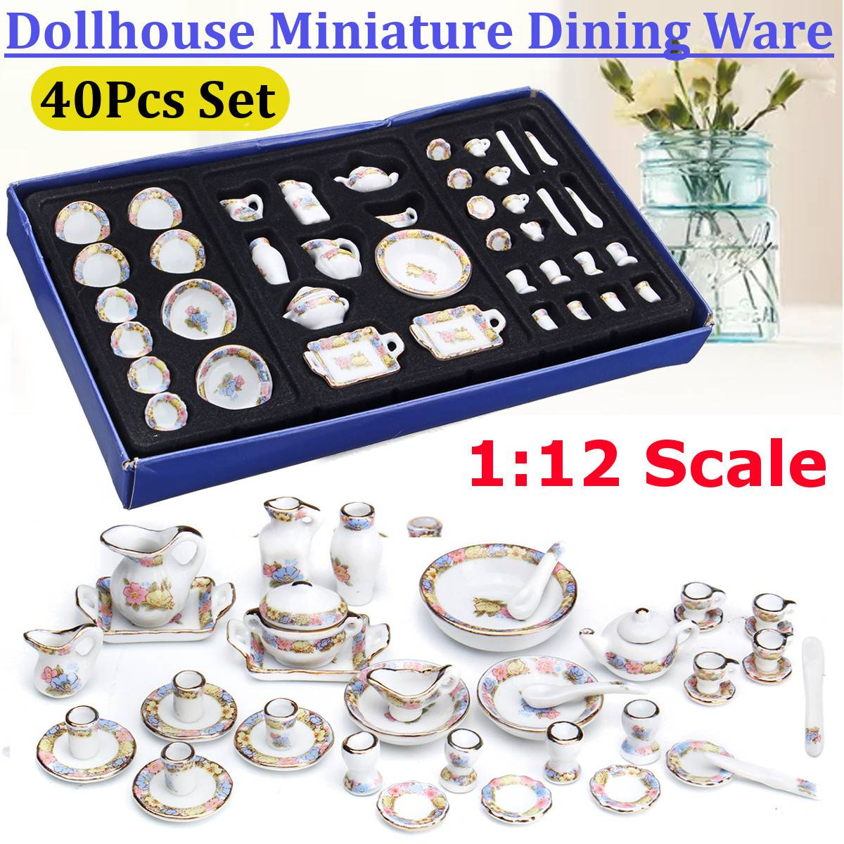 1:12 Scale Miniature Dollhouse China Ceramic Vase Set For Doll House Porcelain