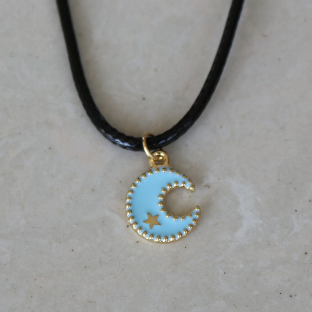 New women fashion lovely cute blue moon pendants black leather short new women fashion lovely cute blue moon pendants black leather short necklaces lover collarbones necklace for aloadofball Images