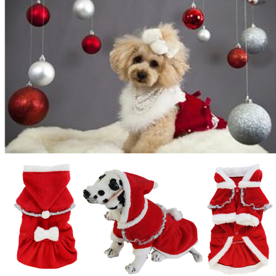 aliexpresscom buy pet dog christmas clothes cats dress jacket warm winter coats pet hoodie outwear clothing with christmas hat and bow wholesale from