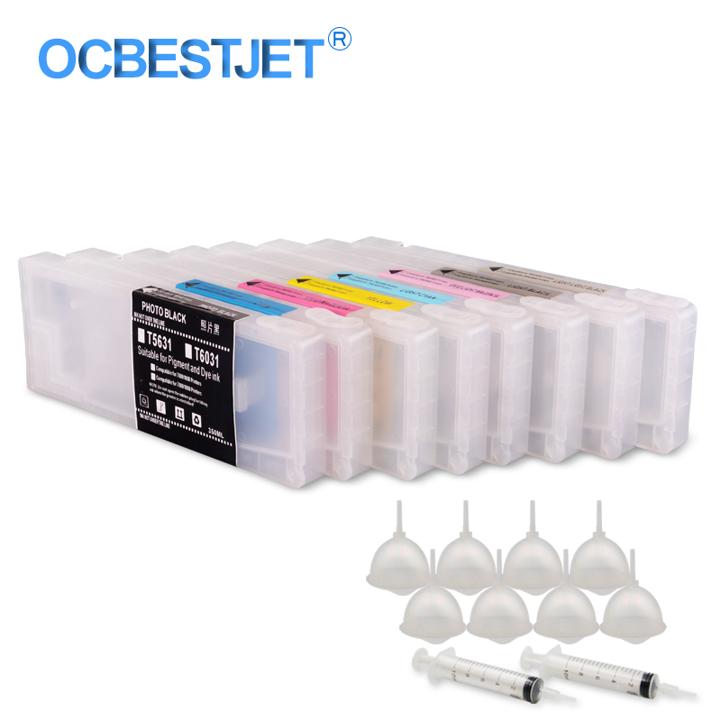 8Colors/Set T5631-T5639 T6031-T6039 Empty Refillable Ink <font><b>Cartridge</b></font> For <font><b>Epson</b></font> Stylus Pro <font><b>7800</b></font> 9800 7880 9880 Printer 350ML/PC image