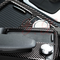 Car styling Carbon Fiber vinyl Console panel cup holder decorative Interior Trim covers stickers for mercedes w204 c180 c200 RHD