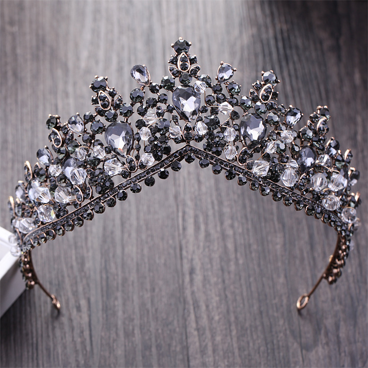 Rhinestone Bridal Tiaras Hair-Accessories Crystal Pageant-Crown Diadem Wedding Black