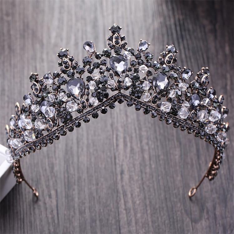 Rhinestone Bridal Tiaras Hair-Accessories Crystal Pageant-Crown Diadem Wedding Black